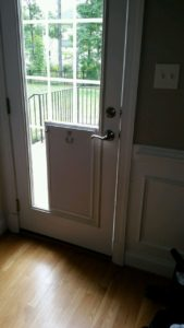 Glass doggy door installation in Richmond, Va